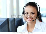 Vos tatouages stock photo female customer support operator with headset and smiling 149580755